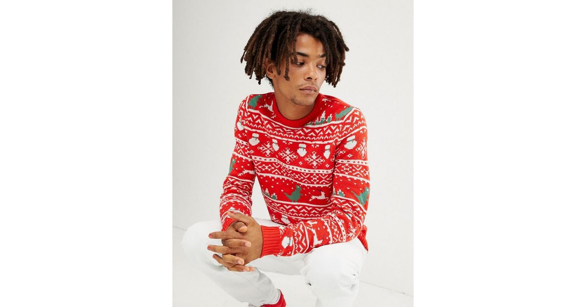 4ff0d541b8 Lyst - Only   Sons Christmas Sweater With Novelty Fairisle in Red for Men