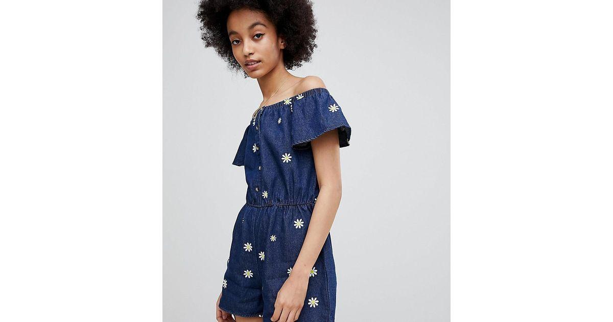 e3894f3348c Miss Selfridge Daisy Print Denim Playsuit in Blue - Lyst