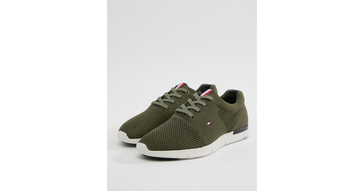 3bc3ebeb Tommy Hilfiger Lightweight Knitted Trainer in Green for Men - Save 29% -  Lyst