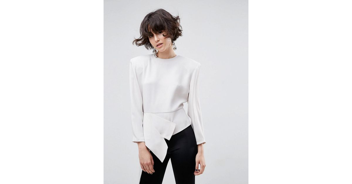 Top Asymmetric In With Shoulder White Lyst Asos Pads 8kwOXnN0P