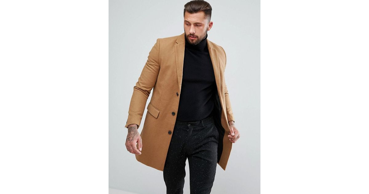 Lyst Men In Look Overcoat Single For Breasted Camel New 8Xqwrpx8 fb5c18eac7e2