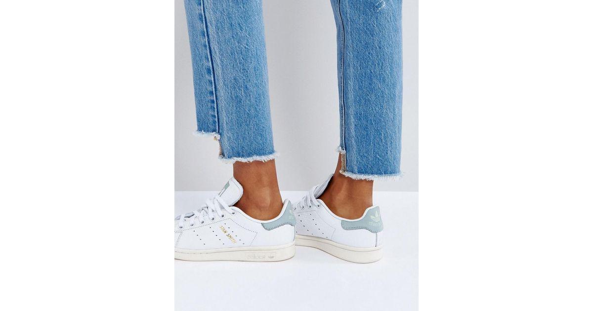 Adidas Originals Originals White And Mint Stan Smith Sneakers