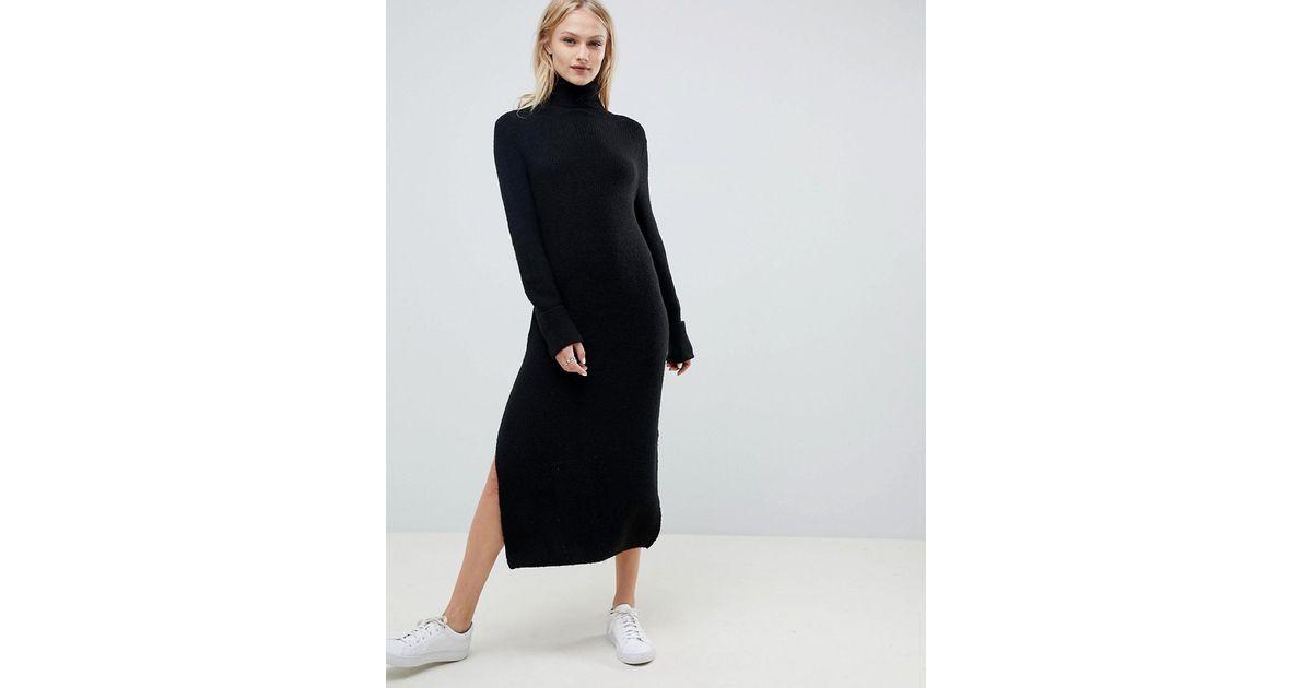 Lyst Asos Sweater Dress In Midi Length With Side Splits In Black
