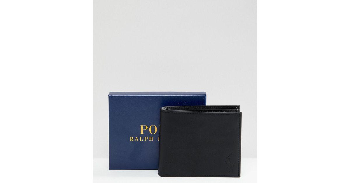 Noir Classique Ralph Black Cuir Lauren Asos Pour Polo Billets Portefeuille Porte Homme Coloris En Exclusivité 54AjLR