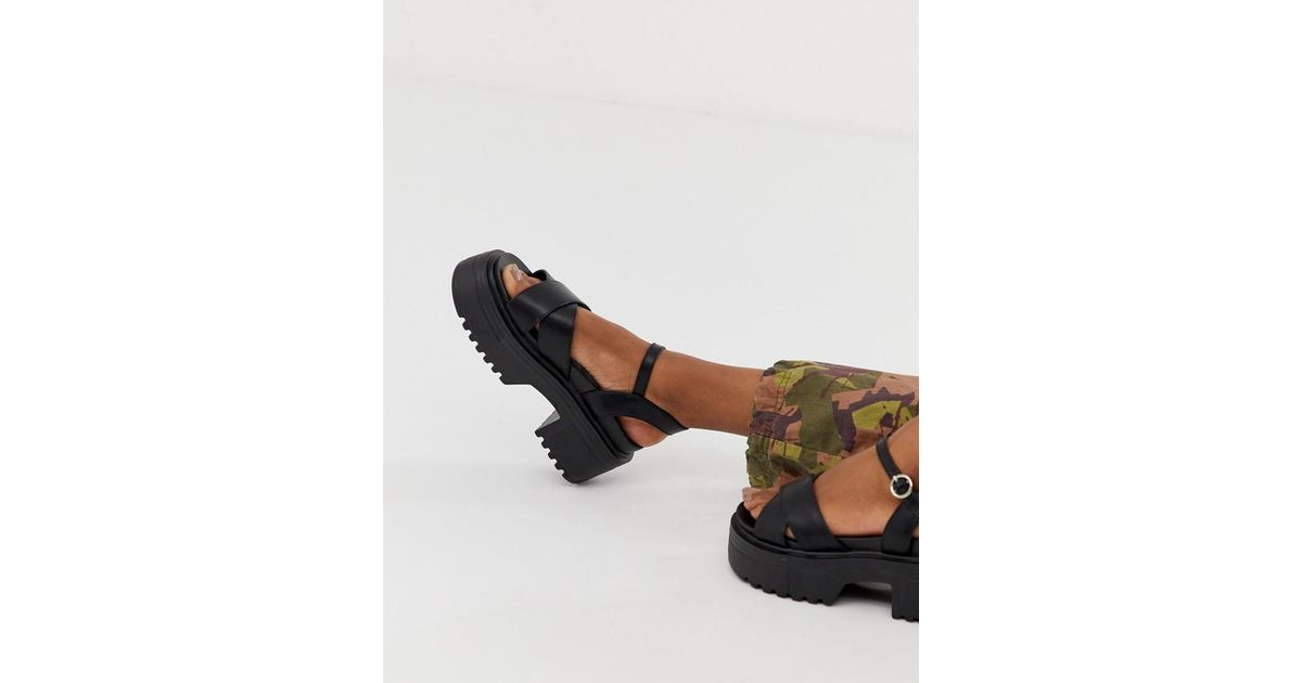 Leather Sporty Chunky Heeled Sandals