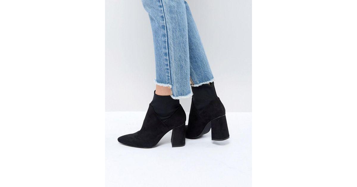 Stadivarius Block Heel Embellished Sock Boot - Blue Stradivarius iZ9Mt8YOT