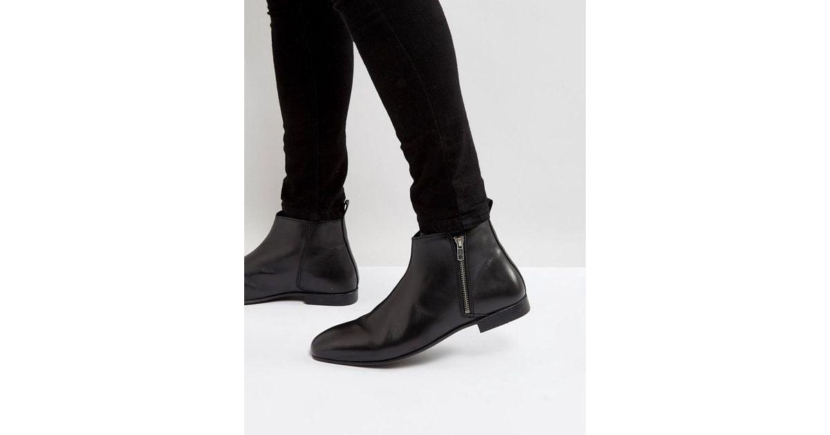 da7e87de15d Frank Wright Side Zip Chelsea Boots Black Leather for men