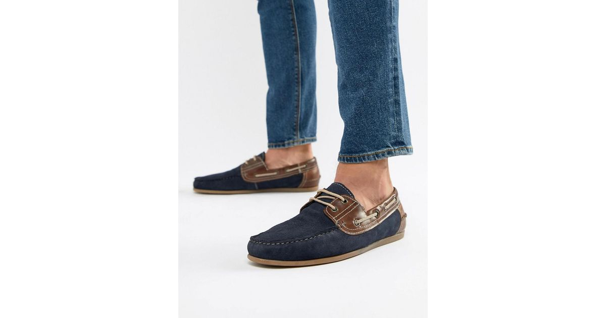 Red Tape Boat Shoes In Navy Suede in