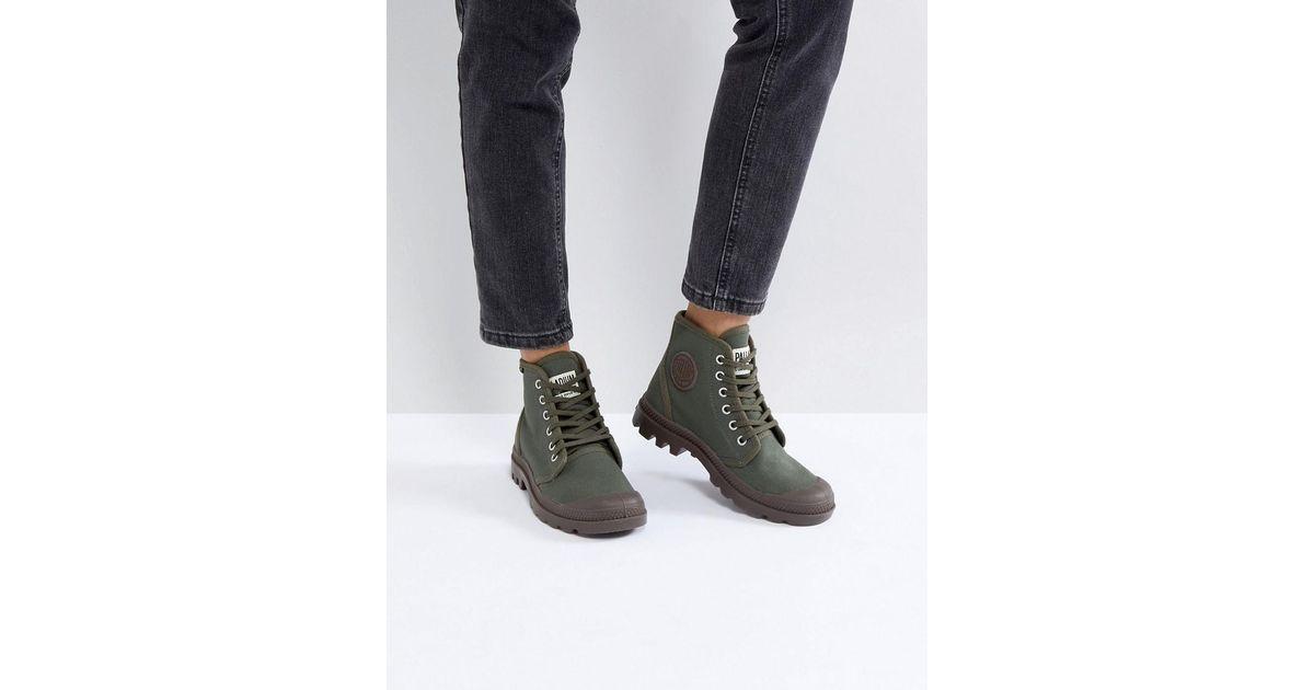 a812f93bbb1 Palladium Green Pampa Hi Originale Olive Canvas Flat Ankle Boots