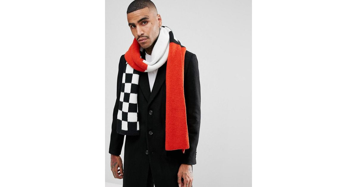 1a08aeee6 ASOS Asos Knitted Scarf In Red With Checkerboard in Black for Men - Lyst