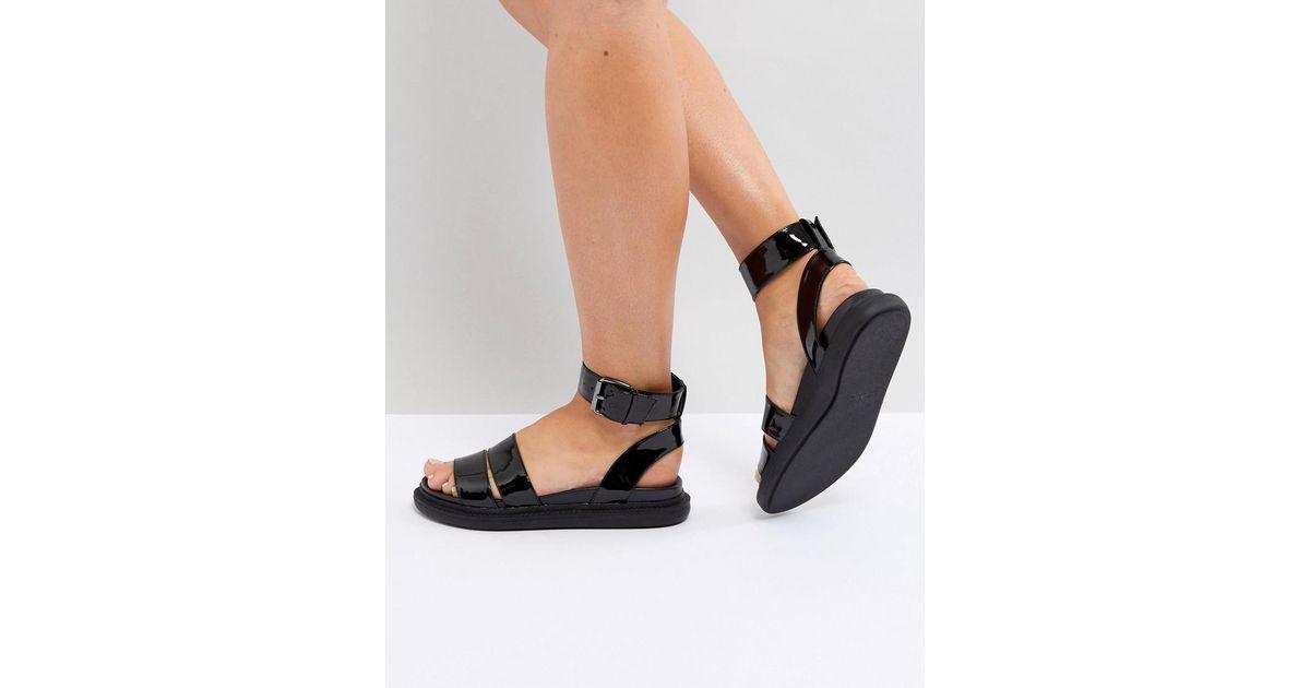 81a8c1460eb ASOS Asos Flock Chunky Flat Sandals in Black - Lyst
