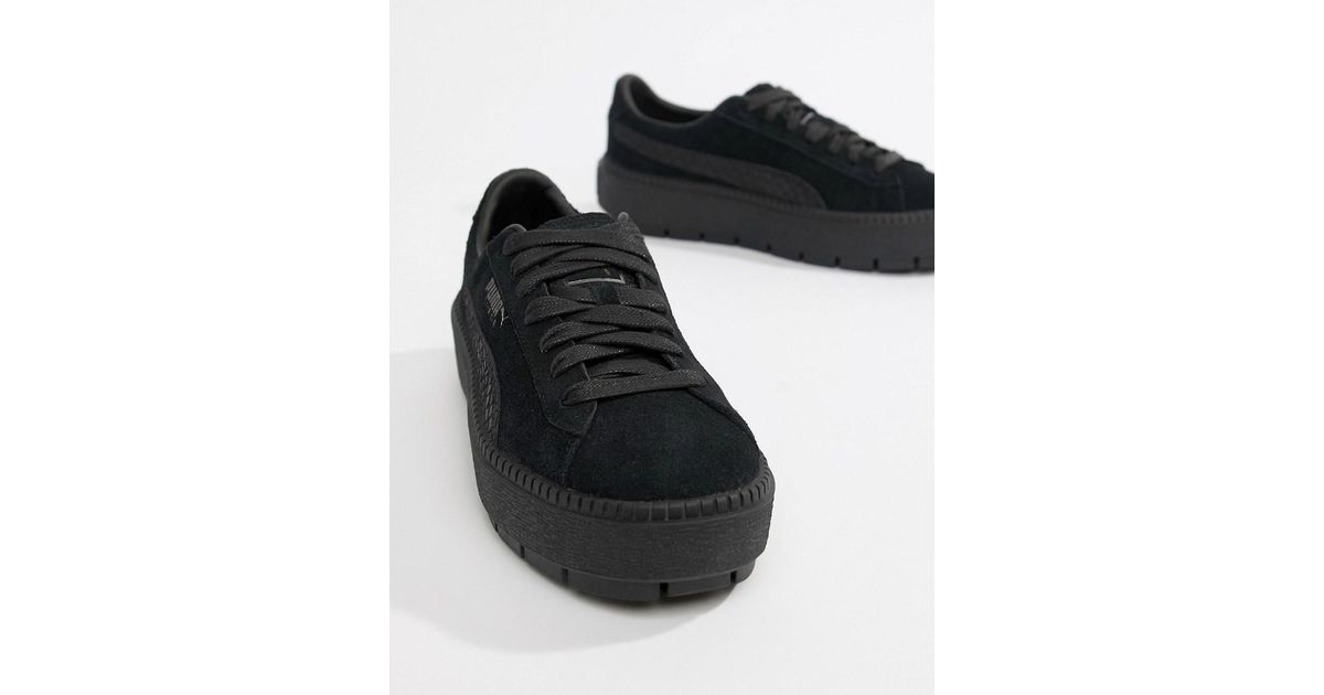 new products 19311 7193d PUMA Black Suede Platform Trace Animal Sneakers