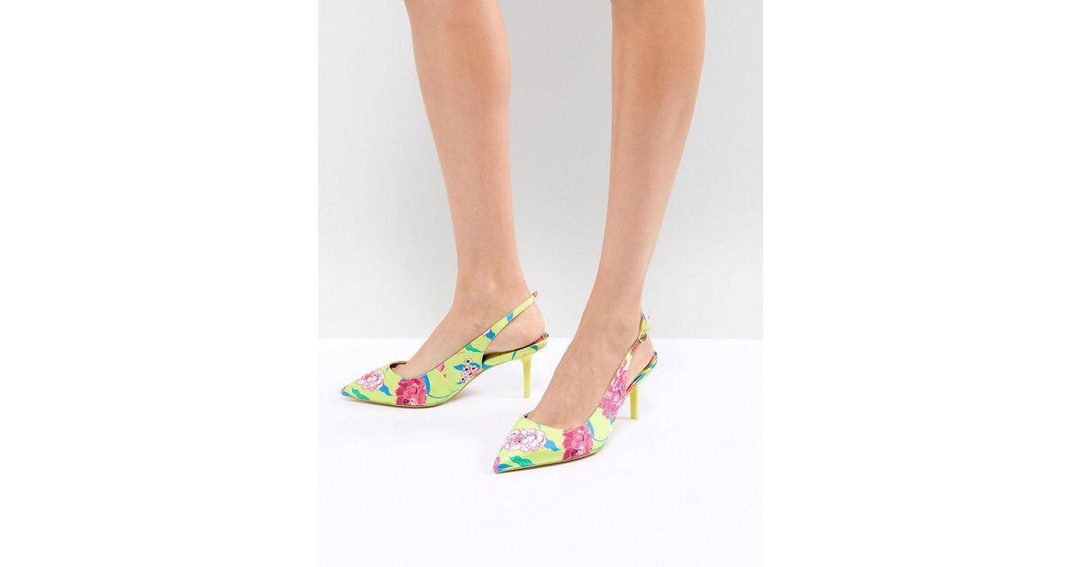 2ba1353613b ALDO Green Kitten Heel Sling Back Shoe In Bright Yellow Floral