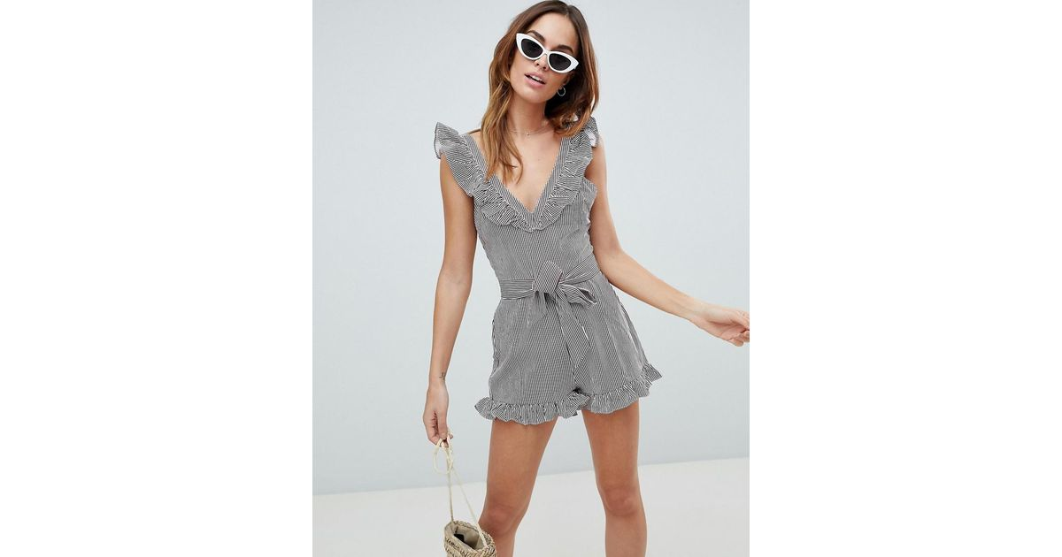 100% authenticated presenting buying new Fashion Union Gray Stripe Beach Playsuit