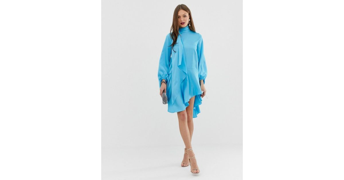 4f89d24b72b5c1 Lyst - ASOS Satin Midi Dress With Scarf Neck And With Extreme Sleeve in Blue