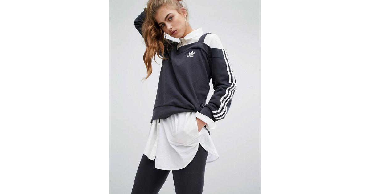 45c7e25a95 adidas Originals Originals Cold Shoulder Three Stripe Top in Black - Lyst