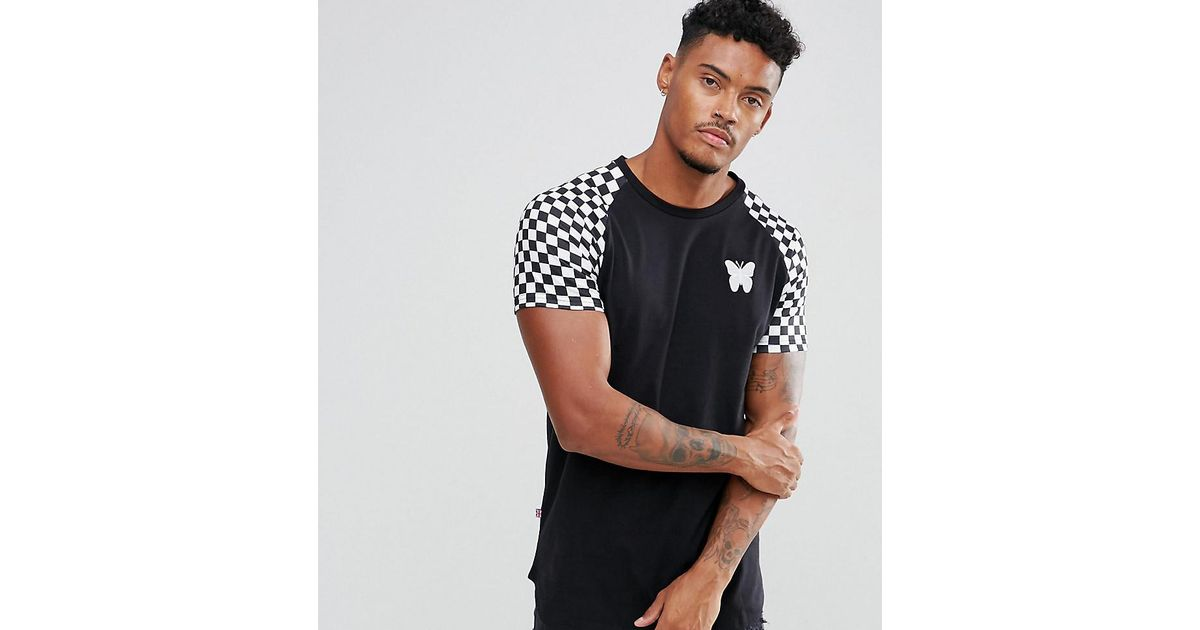 High Quality For Sale Muscle T-Shirt In Black With Checkerboard Sleeves Exclusive To ASOS - Black Good For Nothing Buy Cheap New Styles Multi Coloured Cheap Get To Buy yT9YMZur