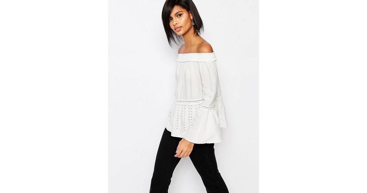 4a75088dac1 Lyst - Vero Moda Broderie Bardot Top in White