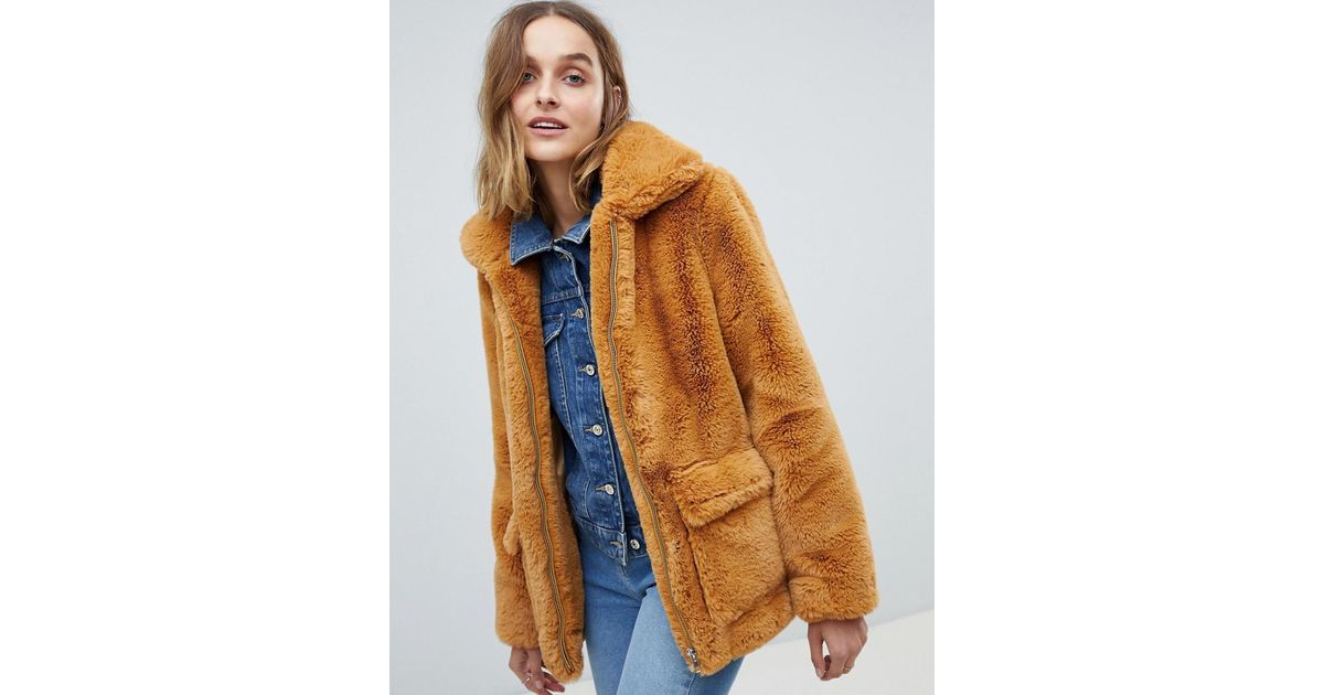 516bee6ec Barneys Originals Faux Fur Coat in Brown - Lyst
