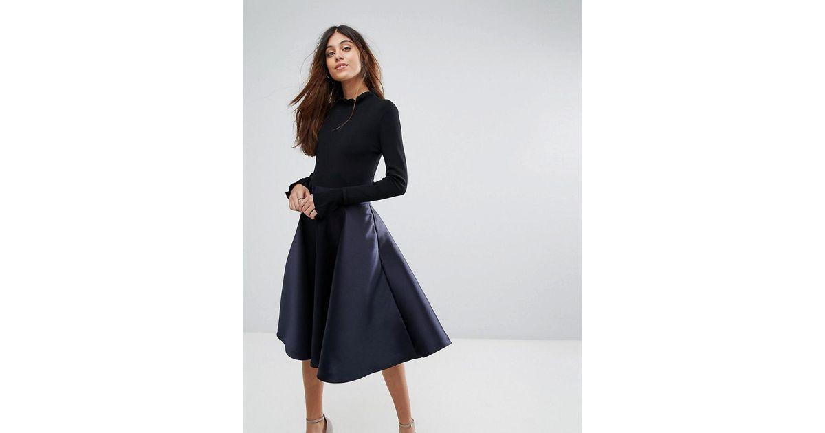 300ca66e8e0f Ted Baker Zadi Knitted Bodice Frill Cuffed Dress in Blue - Lyst