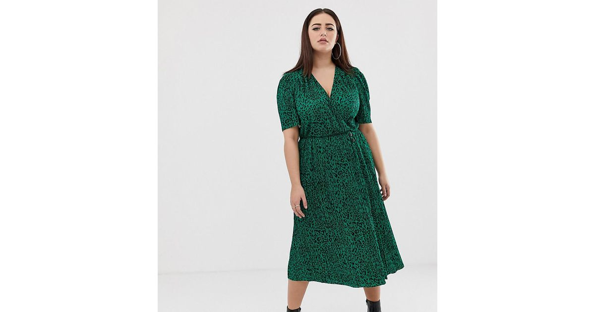 c7cc69a3fd7d ASOS Asos Design Curve Midi Plisse Dress In Green Animal Print With Button  Detail in Green - Lyst