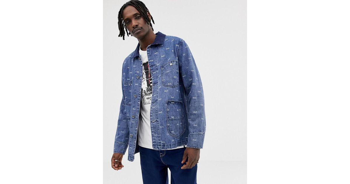ajuste clásico como escoger venta de tienda outlet Chaqueta vaquera con estampado de logo en toda la prenda Domestic Huf de  hombre de color Blue
