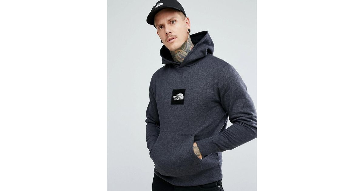 785d1a32f The North Face Gray Fine Overhead Hoodie Box Logo In Dark Grey Marl for men