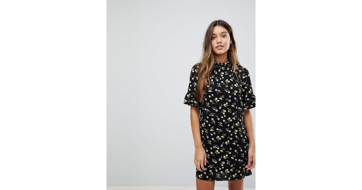 Lyst Fashion Union High Neck Shift Dress In Daisy Floral In Black
