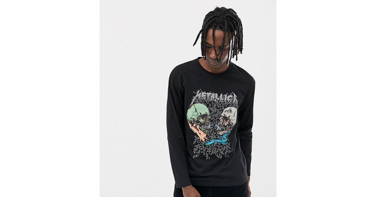 309d2f667fb9a ASOS Metallica Skull Relaxed Long Sleeve T-shirt in Black for Men - Lyst
