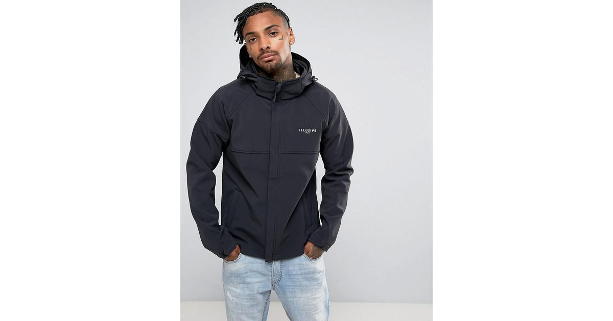 af913f3e04bb Lyst - Illusive London Windbreaker Jacket In Black in Black for Men