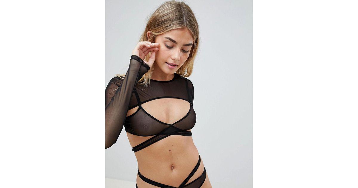 cc531a5a060d4 ASOS Long Sleeve Mesh Crop Top in Black - Lyst