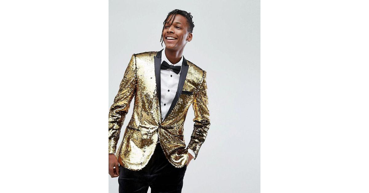 5f751d9383507 ASOS Asos Super Skinny Blazer In Gold Reversible Sequins in Metallic for  Men - Lyst
