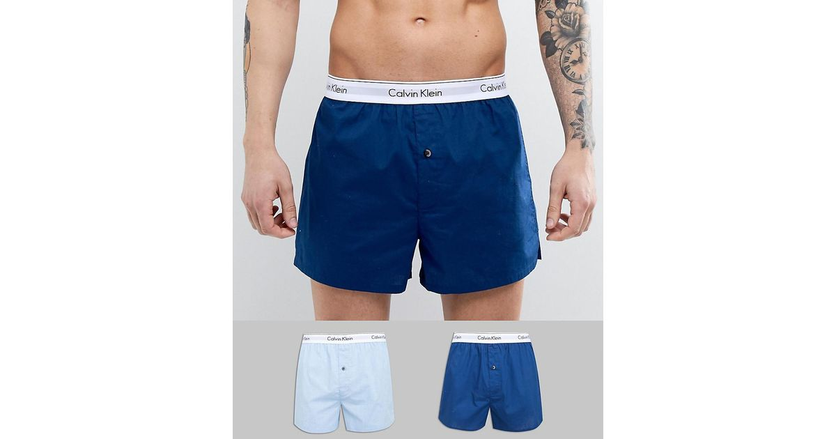 4d91632a5784 Calvin Klein Modern Cotton Woven Boxers 2 Pack In Slim Fit in Blue for Men  - Lyst