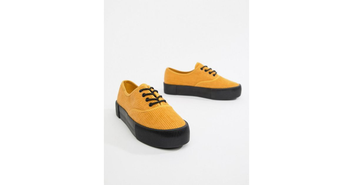 b094385bac9 Monki Courdroy Flatform Plimsols In Mustard black Sole in Yellow - Lyst