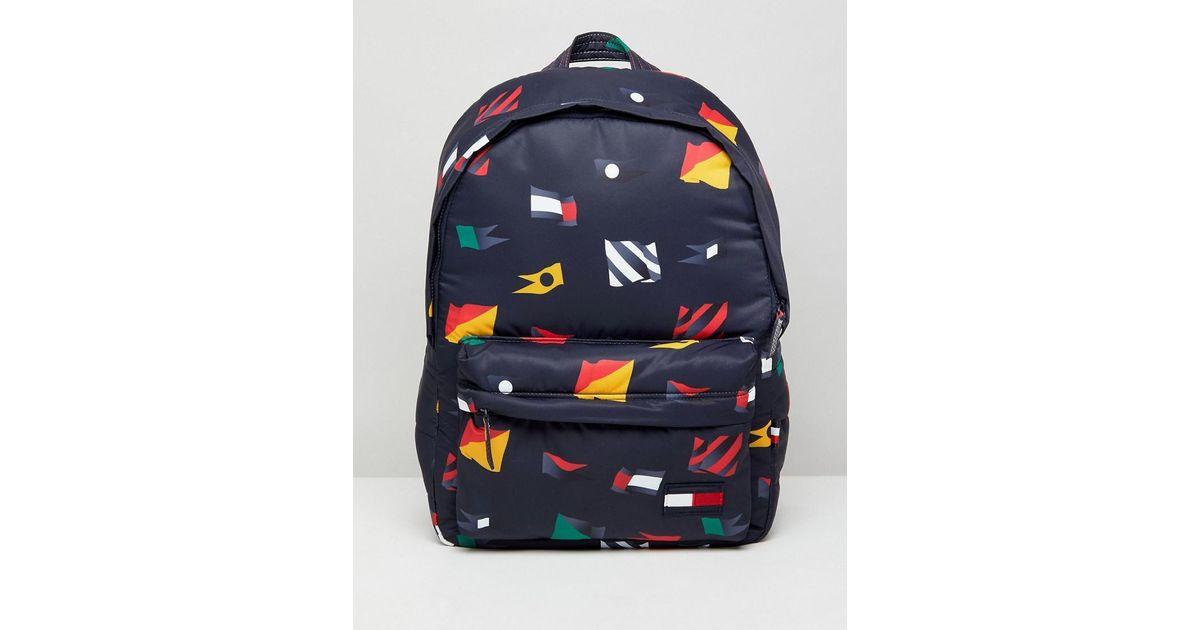 bfbfadede6 Tommy Hilfiger Nylon All Over Flag Backpack In Navy in Blue for Men - Lyst