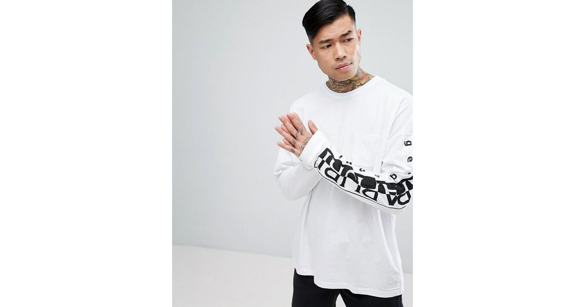 Lyst napapijri tier 1 sabah long sleeve t shirt in white for Shirts for men with long arms