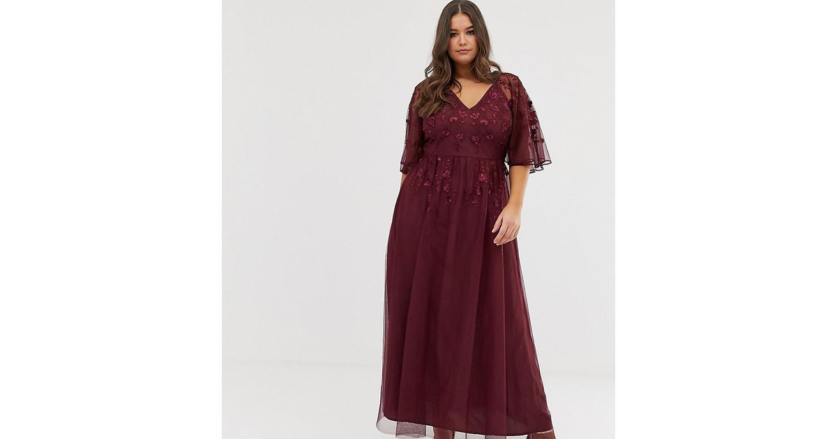 9468e4e31aa Lyst - ASOS Asos Design Curve Flutter Sleeve Maxi Dress In Embroidered Mesh  in Red