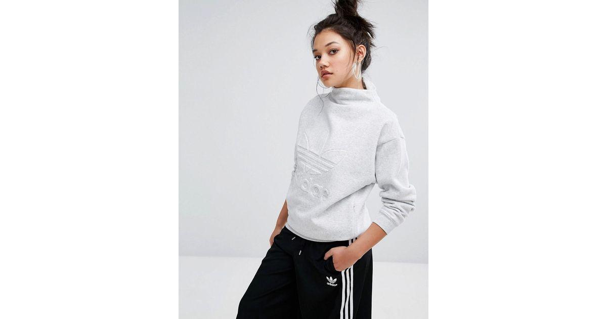 buy good store affordable price Adidas Originals Nyc Gray High Neck Trefoil Sweatshirt