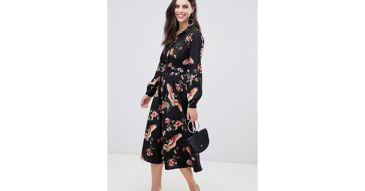 735fcfd9b189 Liquorish Midi Shirt Dress With Pleated Skirt In Floral Print in Black -  Lyst