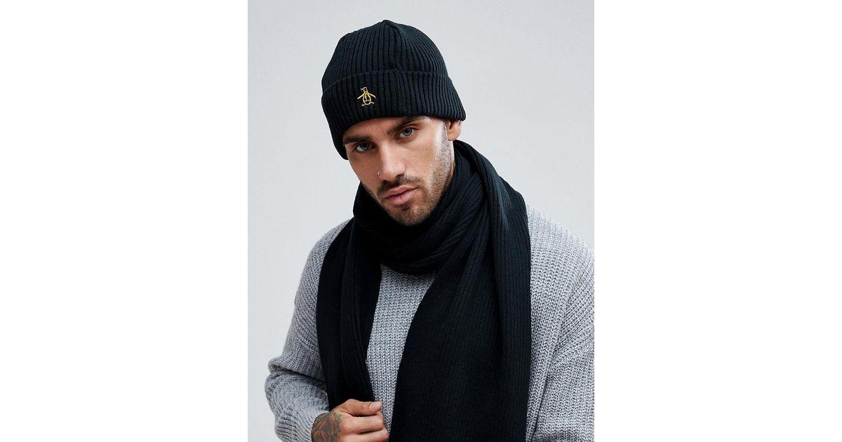 Lyst - Original Penguin Rib Beanie Hat in Black for Men 704a52960c5