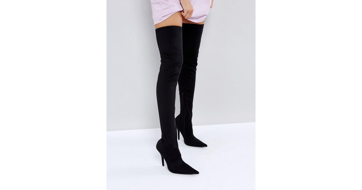 6837b45bbbc Public Desire Refuge Over The Knee Boots in Black - Lyst