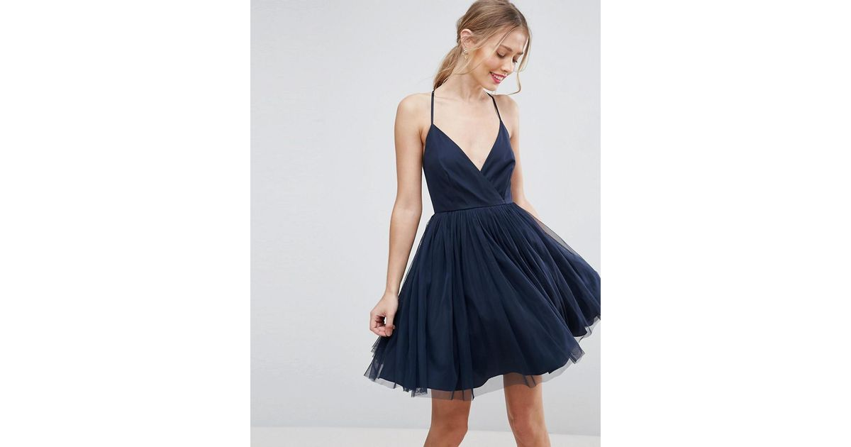 bc21a06f0804 ASOS Tulle Mini Dress in Blue - Lyst