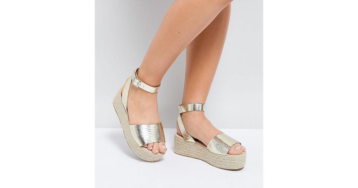 df5e9adeb65 ASOS Metallic Asos Thear Wide Fit Espadrille Flatform Sandals