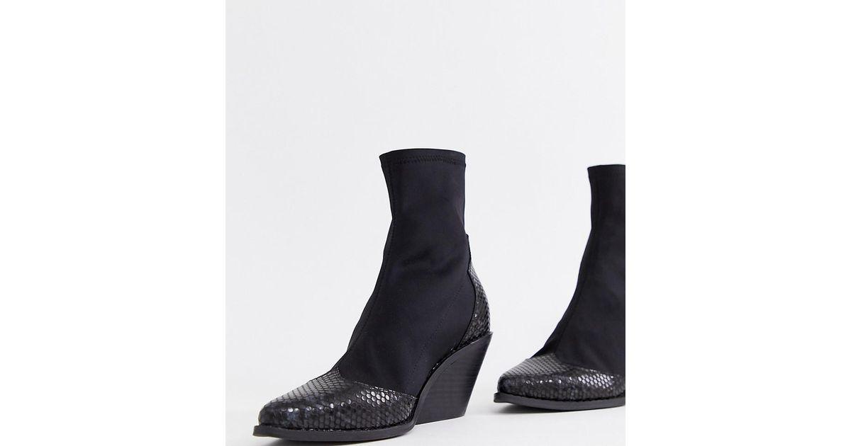 a657bb7f09c ASOS Black Wide Fit Raglan Western Boots