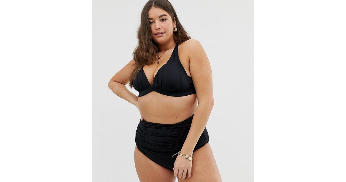3ef3d19ac04 Lyst - City Chic Curve High Waist Bikini Bottom In Black in Black