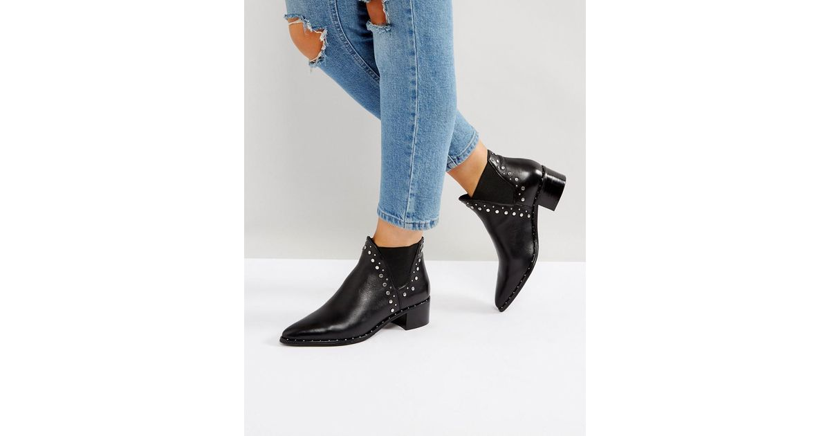 38c1ed69fcb Steve Madden Black Doruss Leather Studded Boots