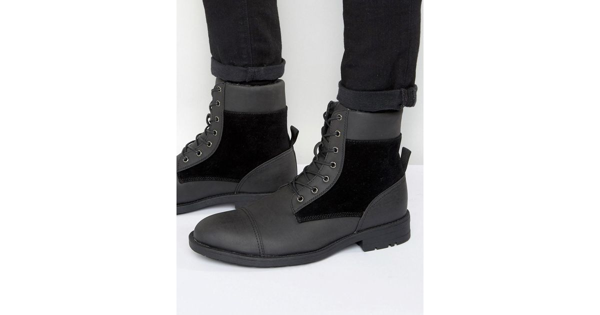 D Men Struct Black Lined Boots Borg Lyst For dhQrCxtBso