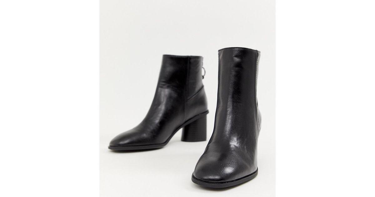 Bershka Round Heel Boot In Black - Lyst