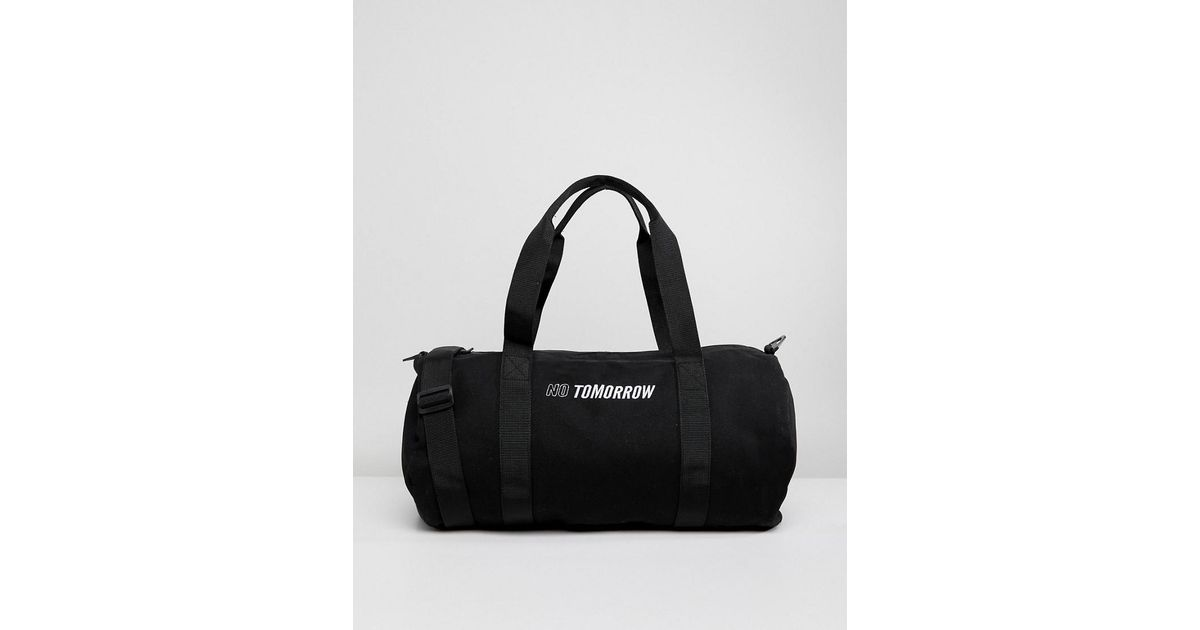 dc65b9aa2 ASOS Barrel Bag In Black With 'no Tomorrow' Embroidery in Black for Men -  Lyst