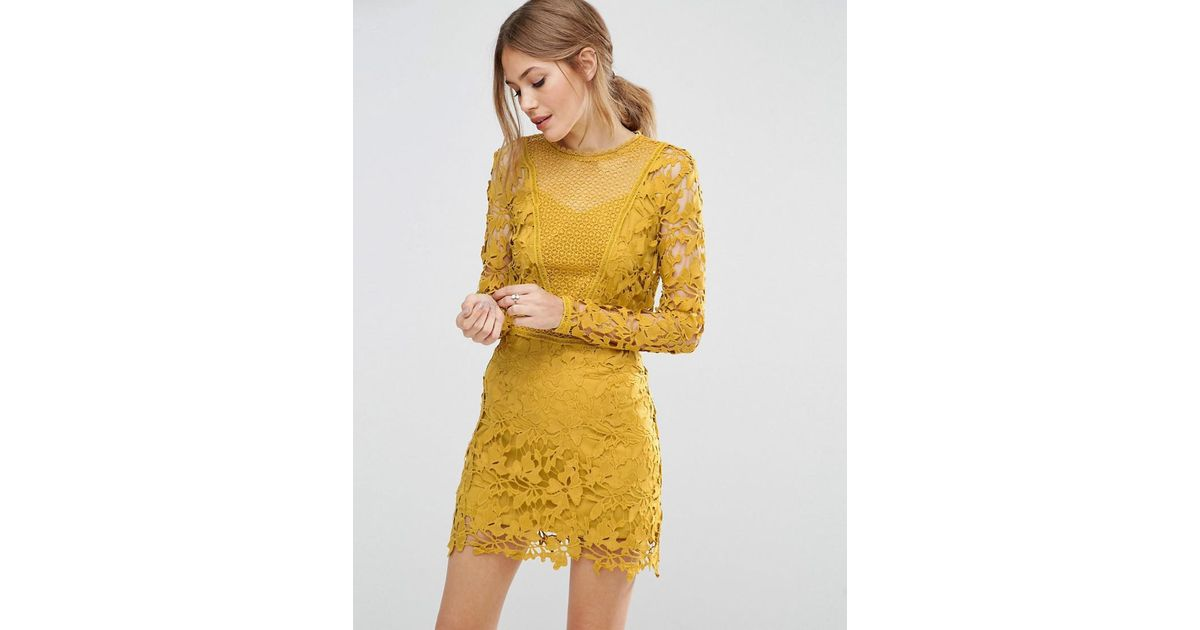 e8550104a53 ASOS Mustard Lace Long Sleeve Panelled Shift Dress in Yellow - Lyst